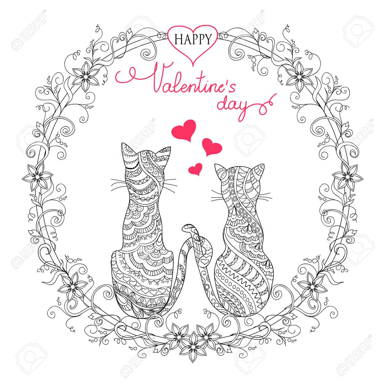 Valentine Grußkarte Mit Handgezeichneten Dekoriert Paar Katzen In ...
