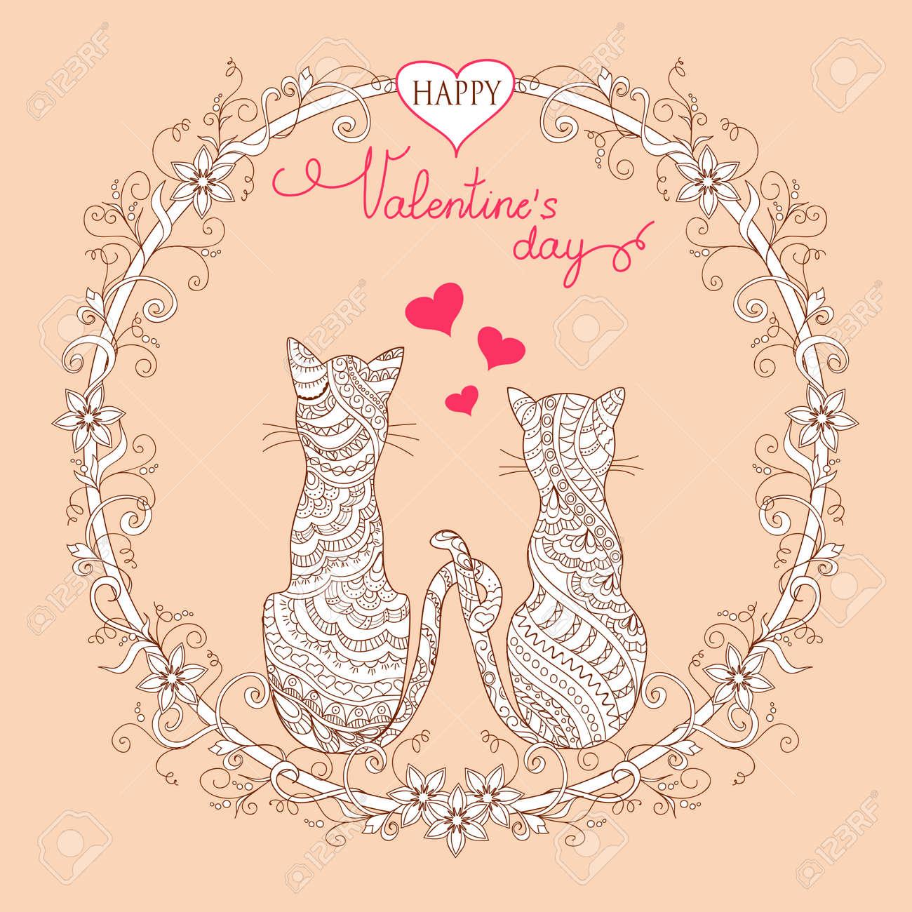 Bunte Valentine Grußkarte Mit Hand Verziert Paar Katzen In Mandala ...