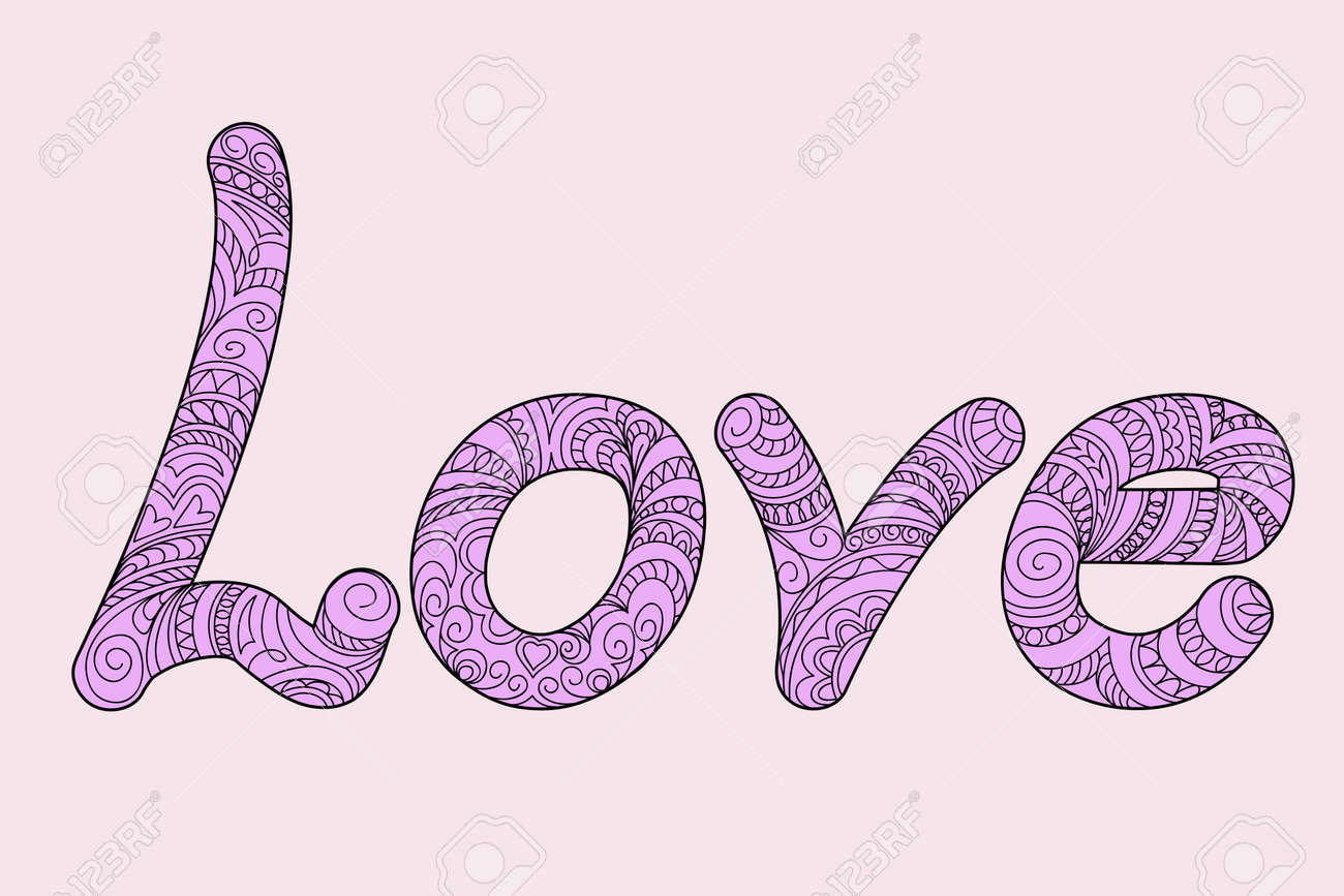 Hand Drawn Ornamentaligraphical Word Love In Zen Style Isolated On White Background Print