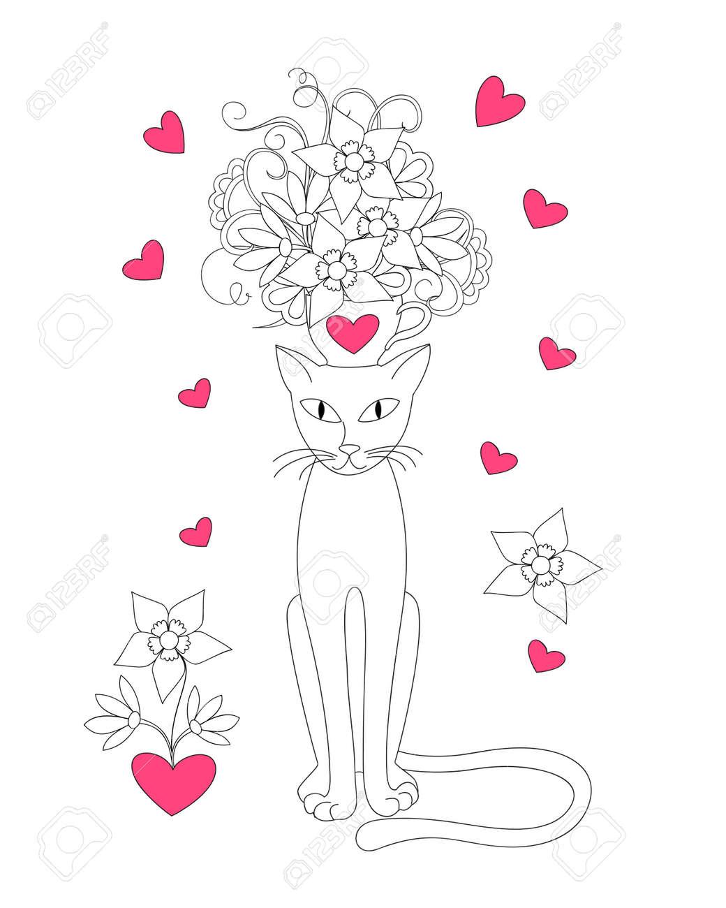Gato De La Historieta Con La Taza Flores Y Corazones Para La