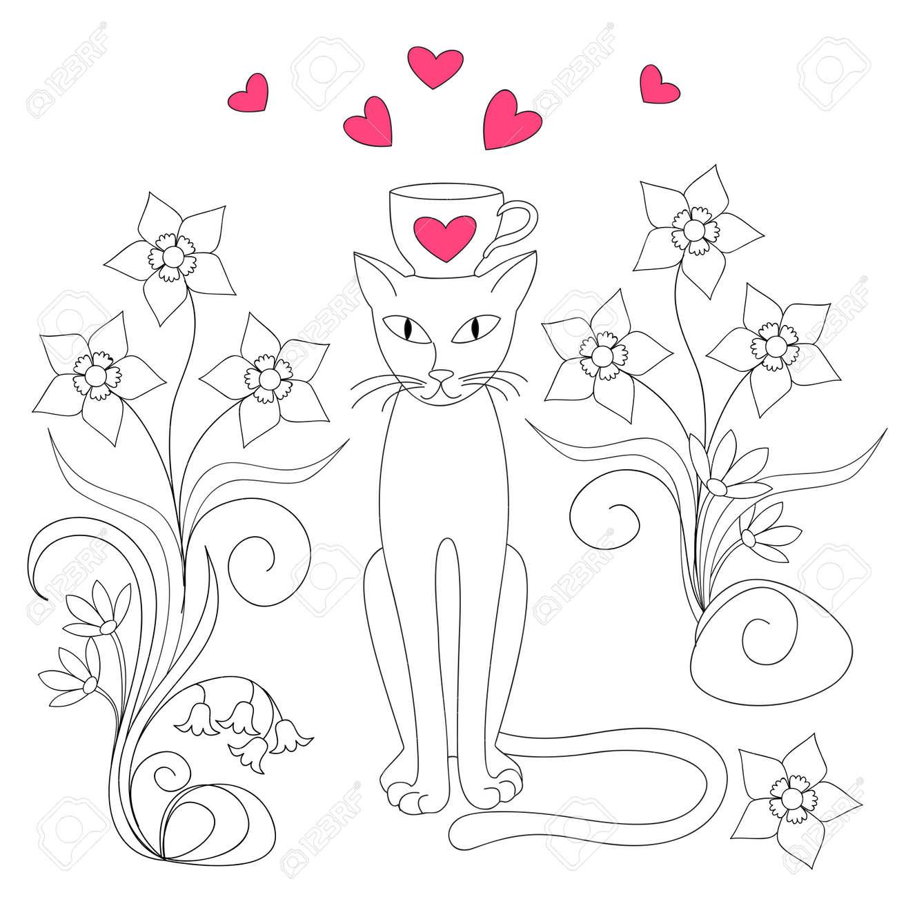 Cartoon Katze Mit Schale, Blumen Und Herzen Für Valentinstag Grußkarte,  Einladung, Hochzeit