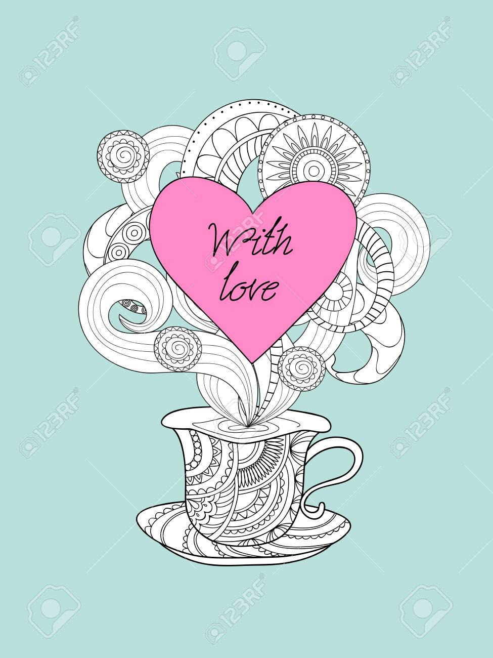 Hand drawn decorated cup in zen style and text with love image hand drawn decorated cup in zen style and text with love image for valentine card stopboris Image collections