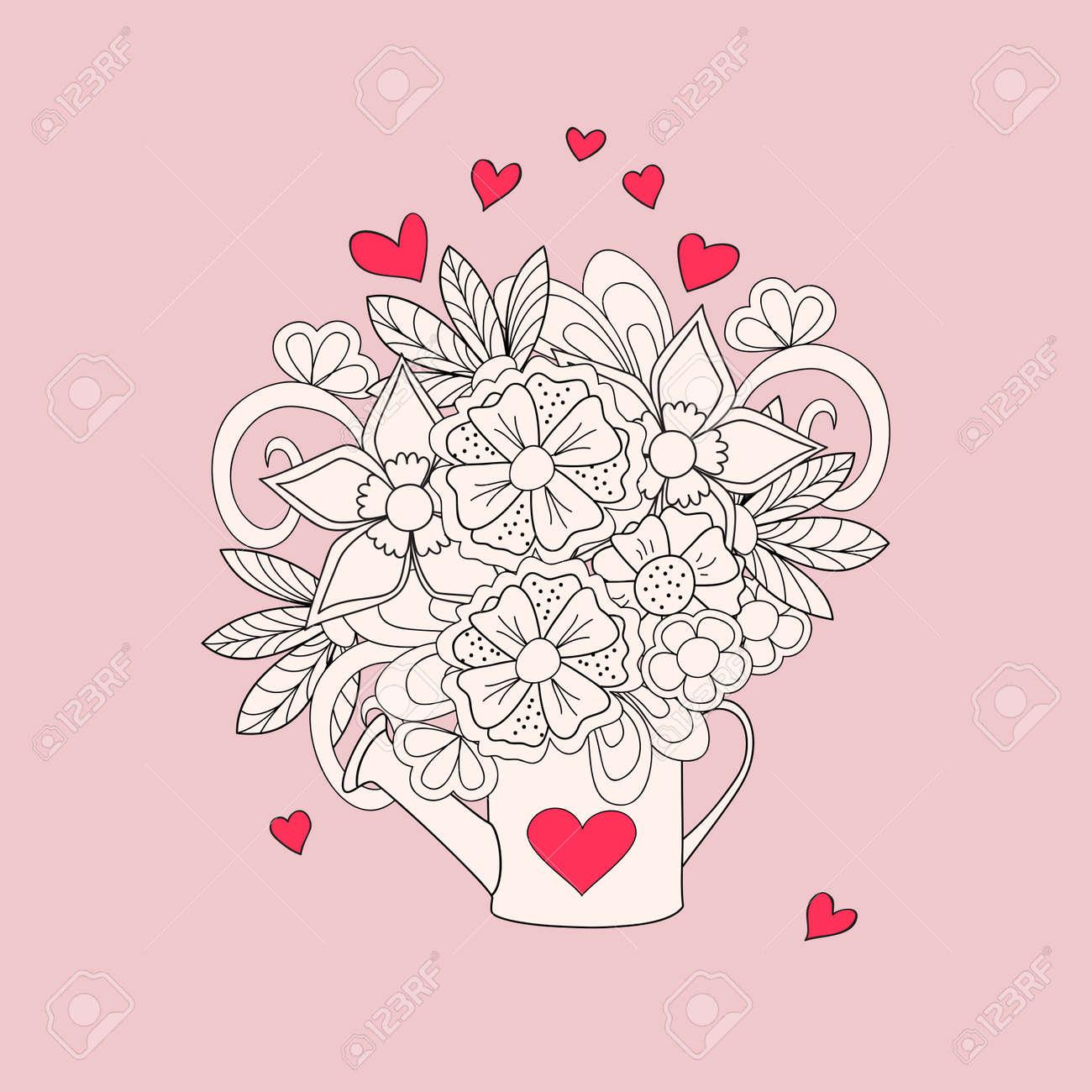 El Riego A Mano Decorada En Estilo Dibujado Puede Zen Imagen Para La Tarjeta De San Valentín Invitación Ahorre La Fecha Boda Vacaciones