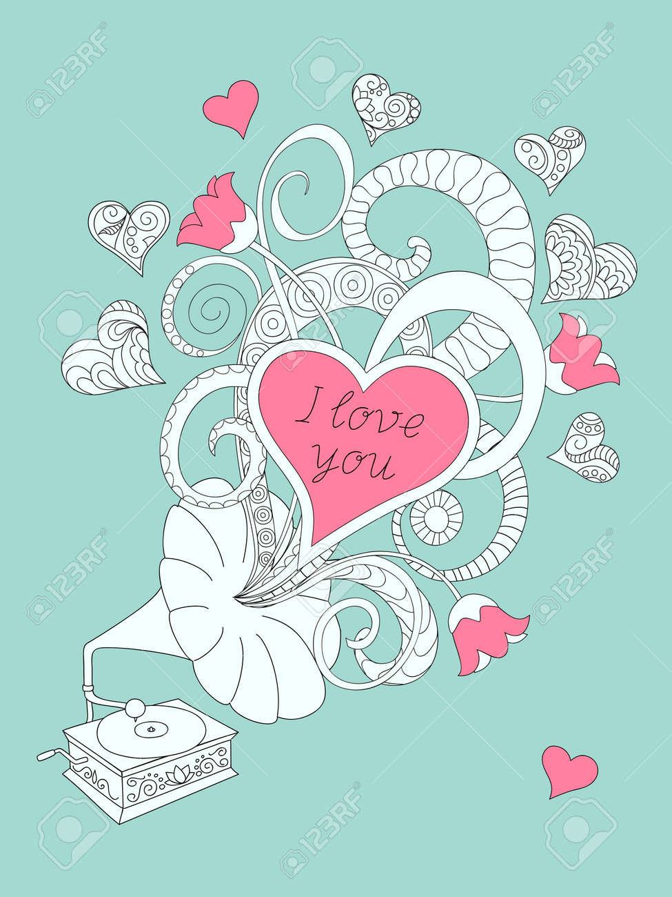 Festive romantic card with doodle drawing gramophone zen tangle festive romantic card with doodle drawing gramophone zen tangle shapes hearts text i stopboris Image collections