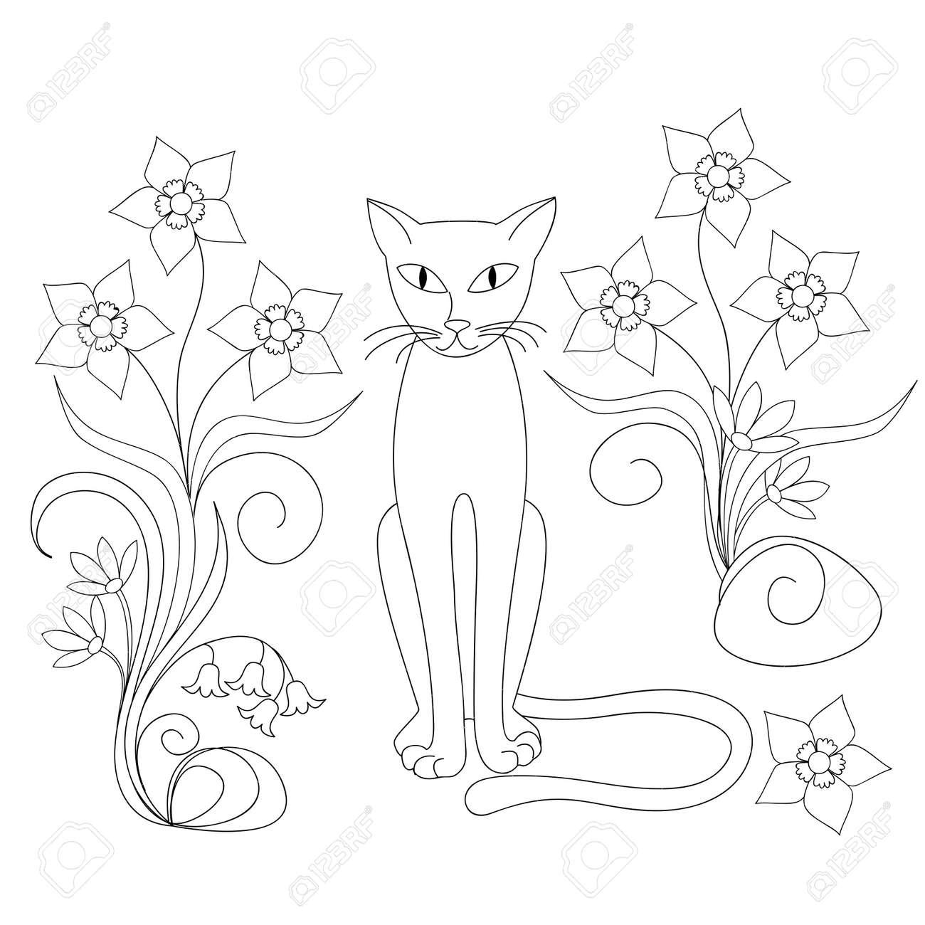 Dibujado A Mano Gato De Dibujos Animados Y Flores Para Decorar La - Imagenes-para-decorar