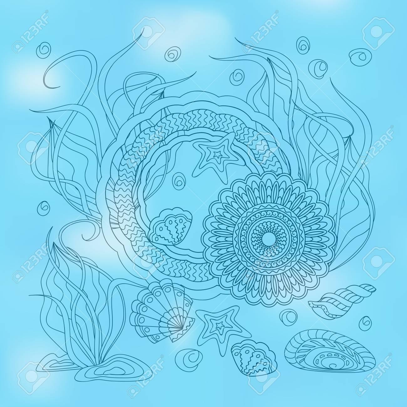 手で印刷描画貝殻や家の芸術のた...