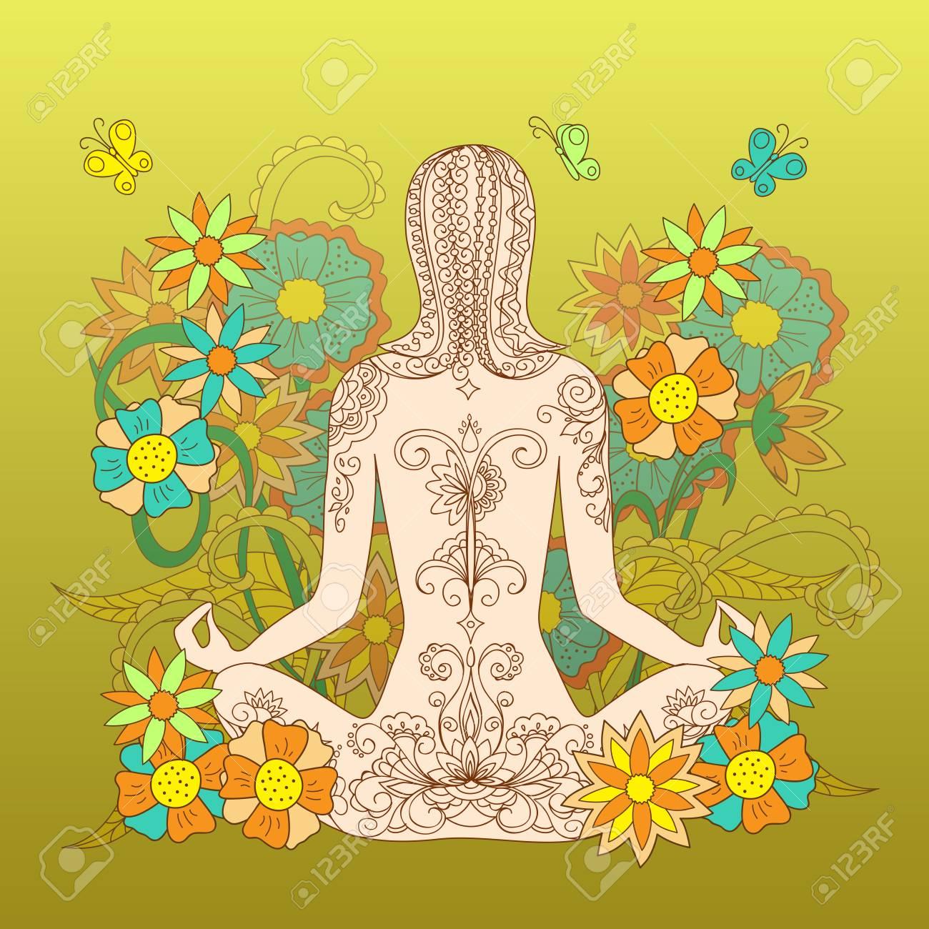 Silhouette Assis Dans Yoga Lotus Pose Fille De Tatouage Avec Motif