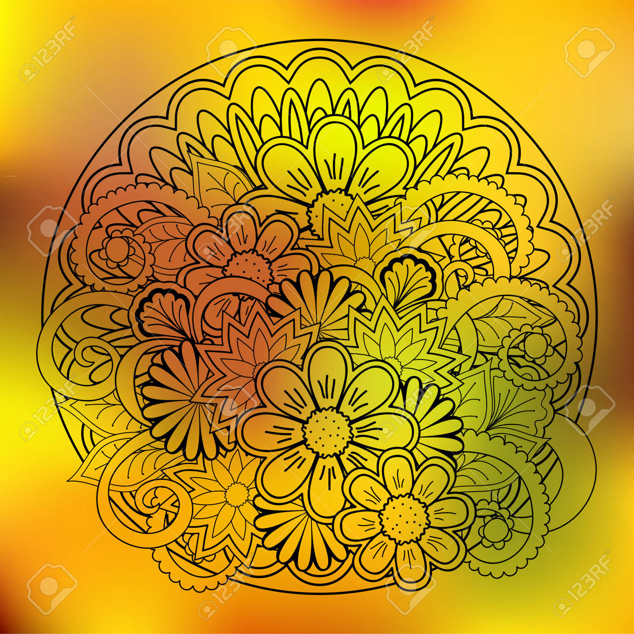 Hand Drawn Transparent Doodle Composition Of The Flowers With ...