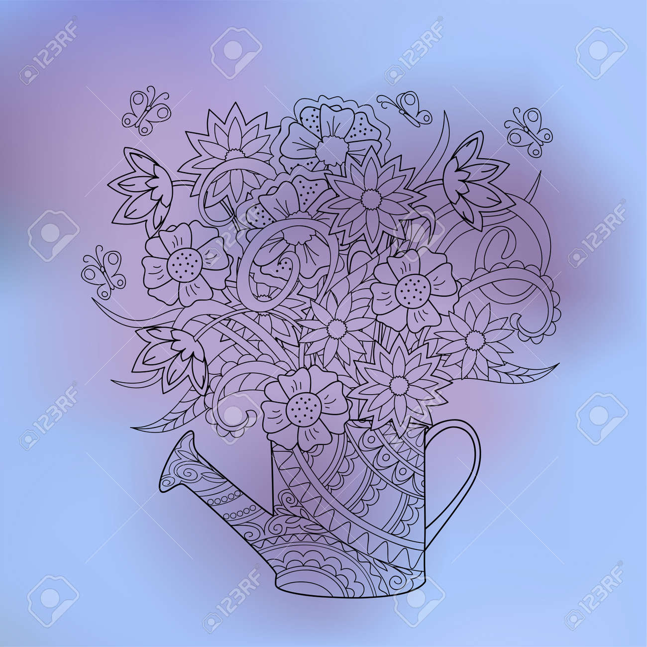Hand Drawn Transparent Doodle Flowers Bouquet With Butterflies For Fabric Print Wall Art And Decoration