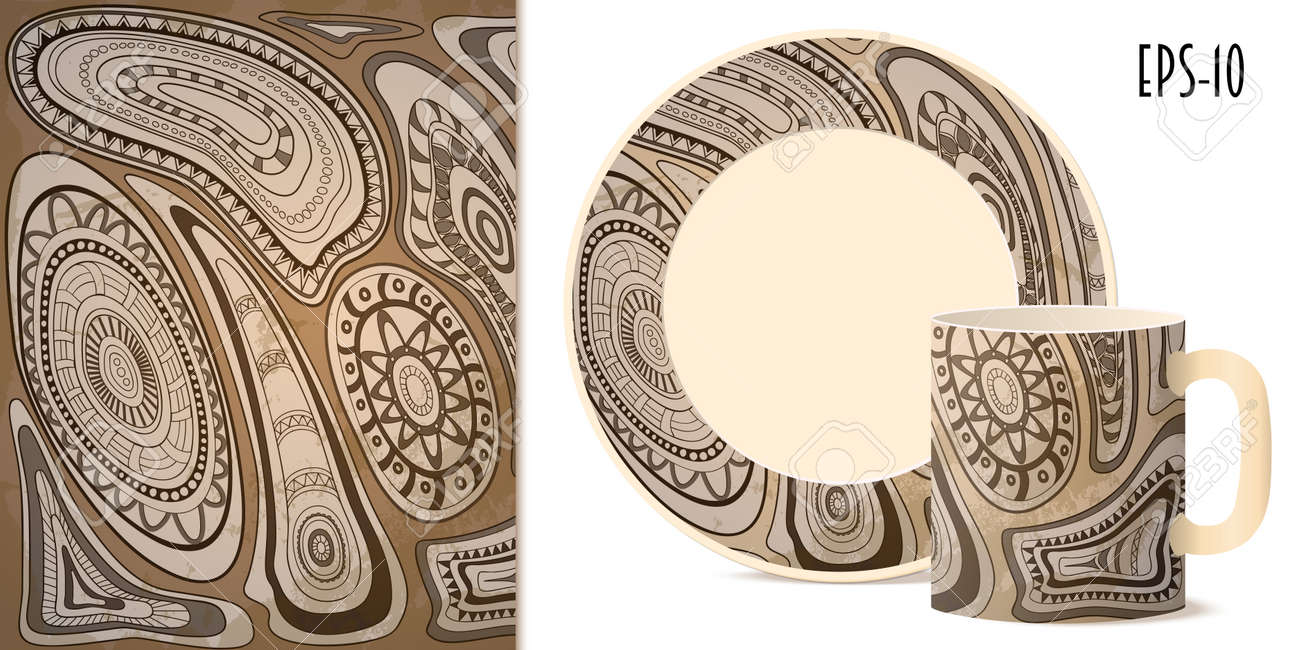 hand gezeichnete geometrische stammes aztekische muster im retro stil fr dekorieren geschirr tasse - Geschirr Muster