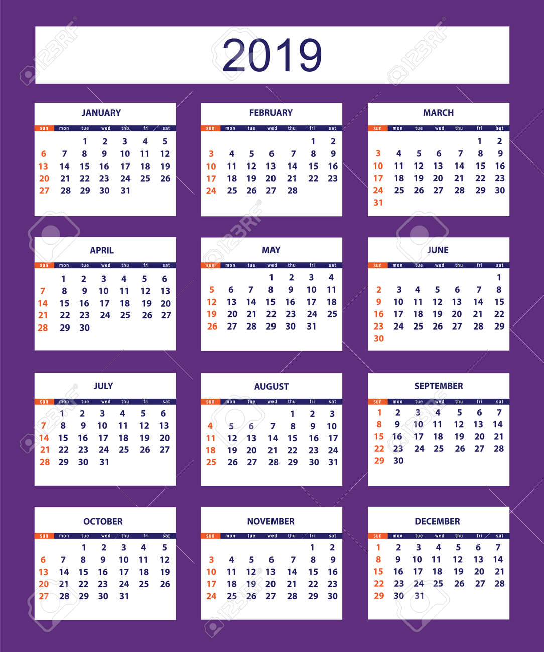 Calendario 2019 English.Classic American Calendar For Wall Year 2019 On The Violet Background
