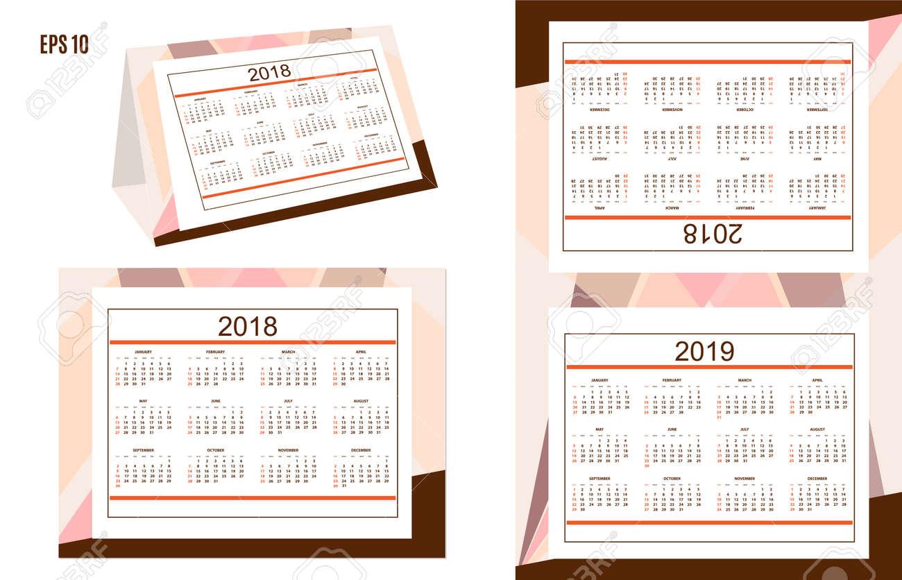 Calendario Con Semanas 2019 Para Imprimir.Plantilla Del Calendario Americano Clasico Para El Ano De Escritorio 2018 2019 En El Fondo Abstracto Idioma En Ingles La Semana Comienza El