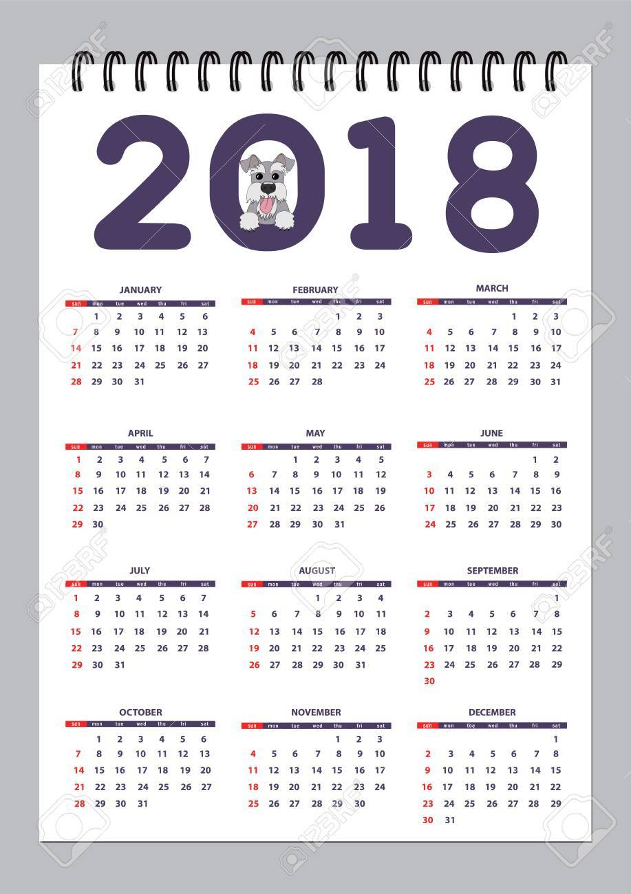 classic american calendar for wall year 2018 with cartoon toy