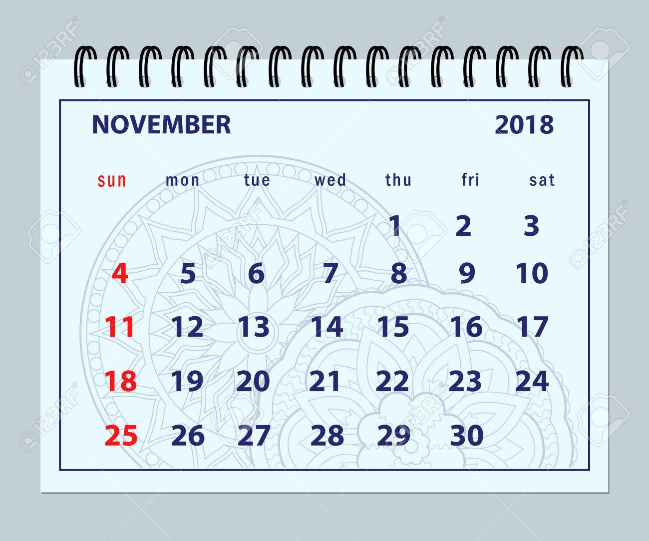 Monthly Calendar November Year 2018 On Mandala Background. Layout ...