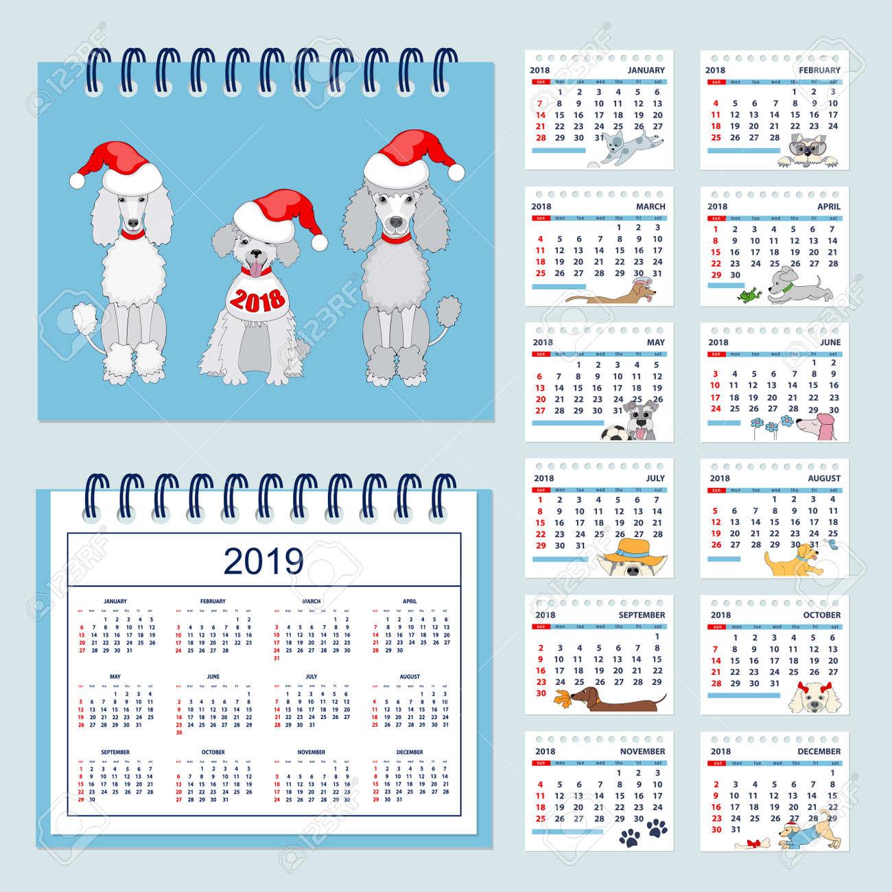 Calendario 2019 Illustrator.Calendario 2019 Para Ninos