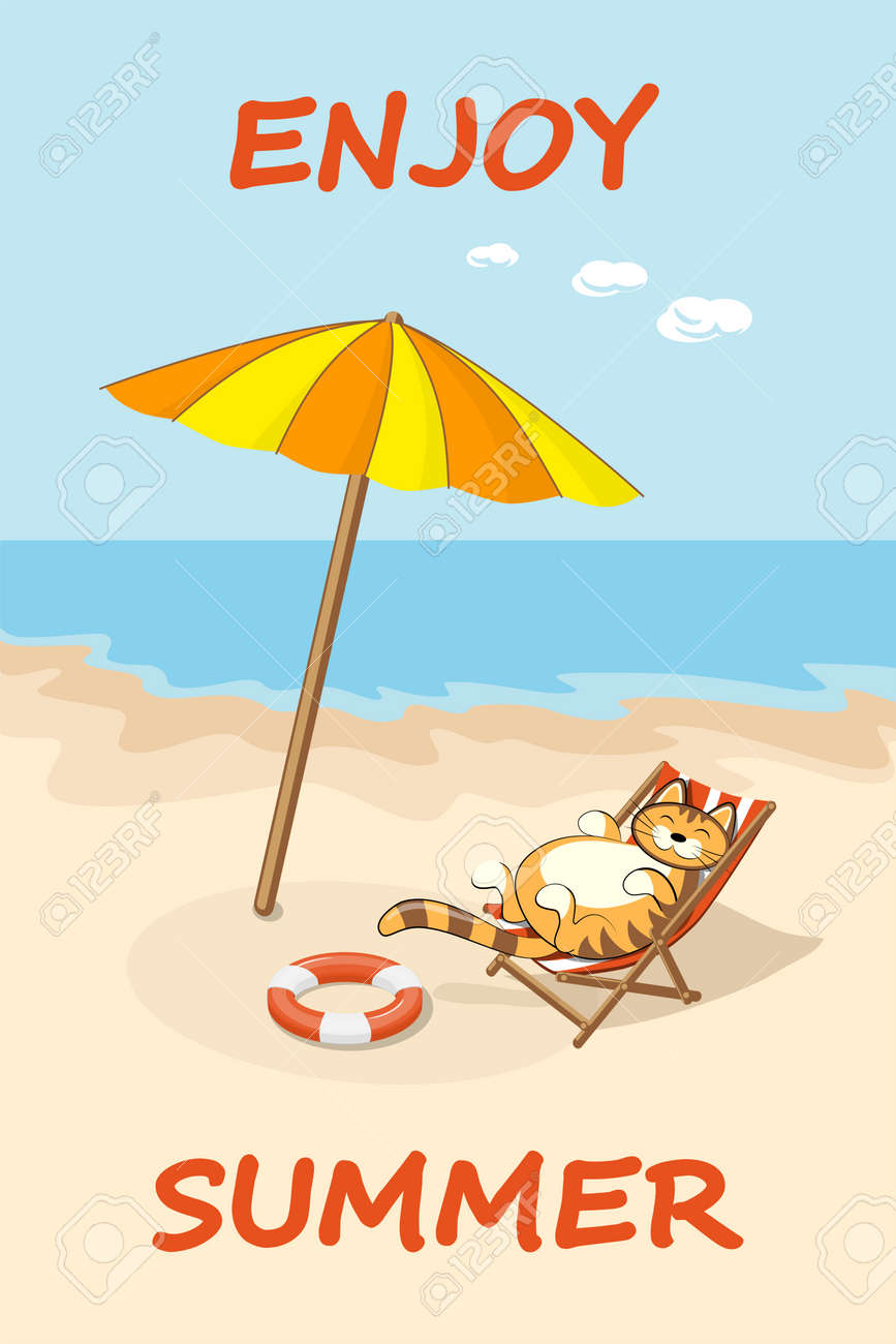Colorful Drawn Cartoon Cat On The Beach In Sunlounger Summer Vacation Concept Background With