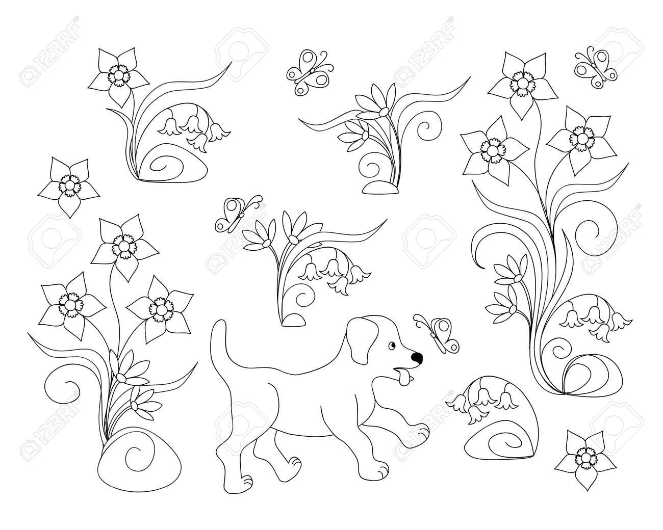 Malvorlagen Mit Niedlichen Cartoon Welpen Unter Blumen Für Kinder ...