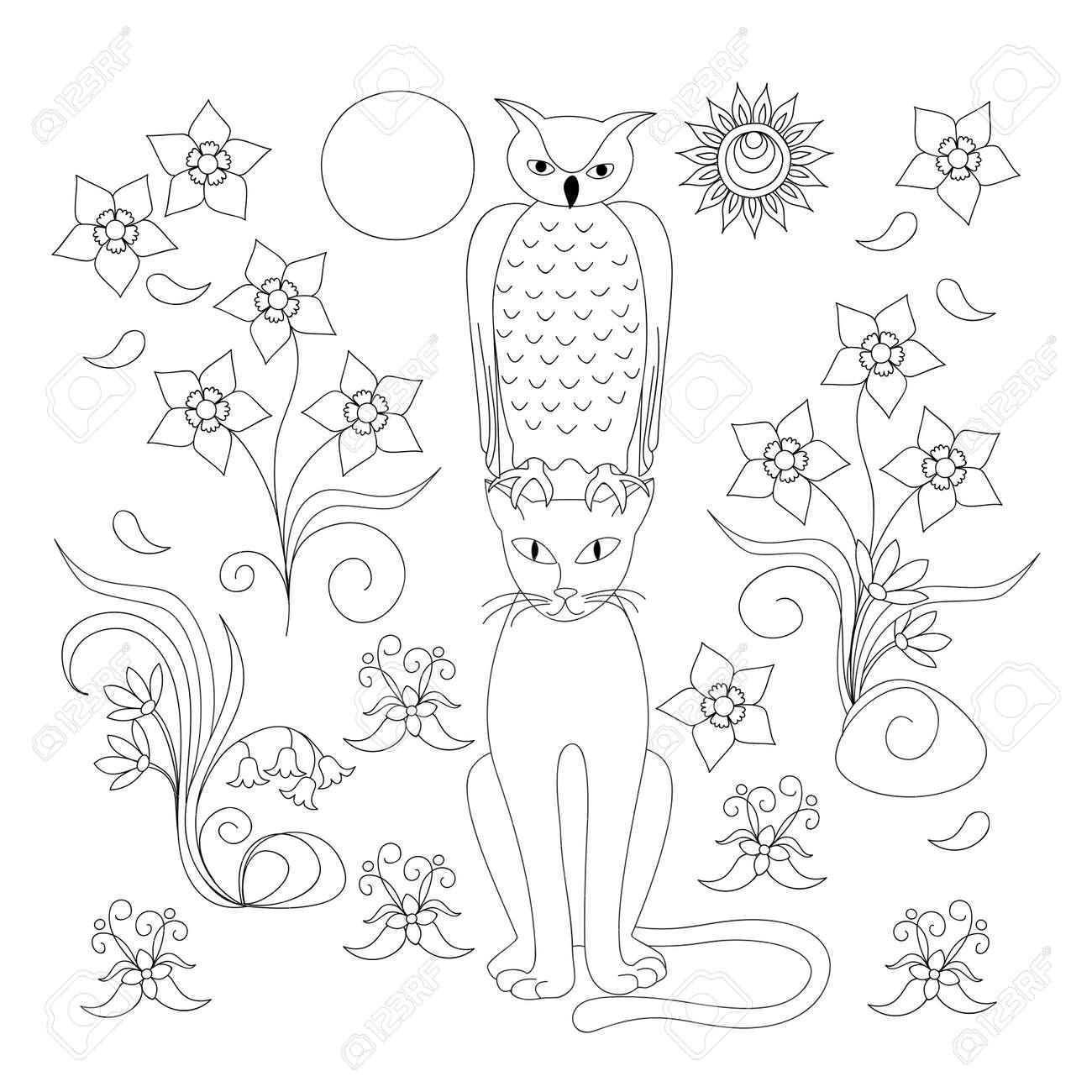 Coloriage Avec Dessin Animé à La Main Chat Hibou Et Fleurs Pour