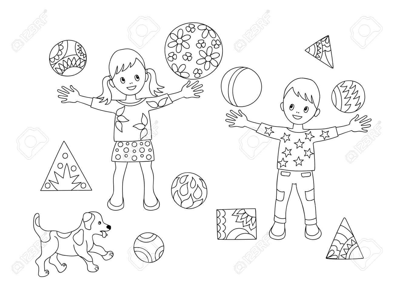 Malvorlage Mit Cartoon Spielen Kinder Und Welpen Mit Bällen Für ...
