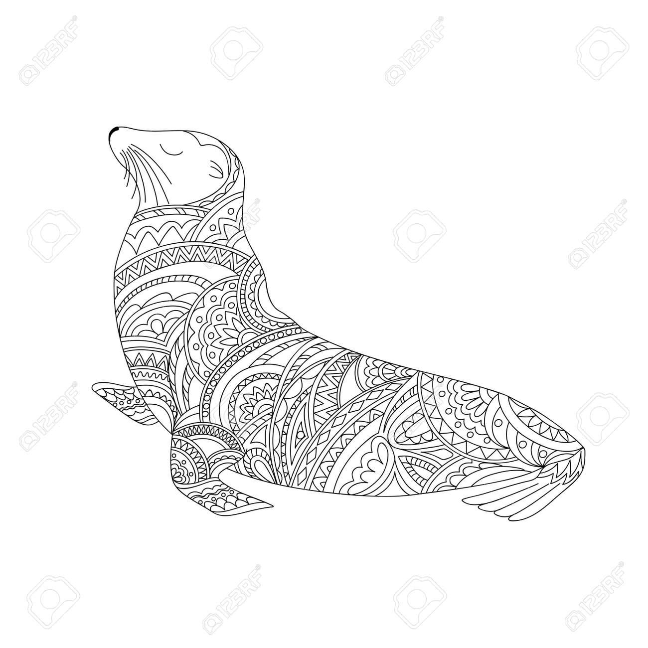 Lobo Marino Ornamental Dibujado A Mano En Estilo Zen Para Decorar Artículos De Papelería Platos Porcelana Cerámica Estampado De Camisetas Página