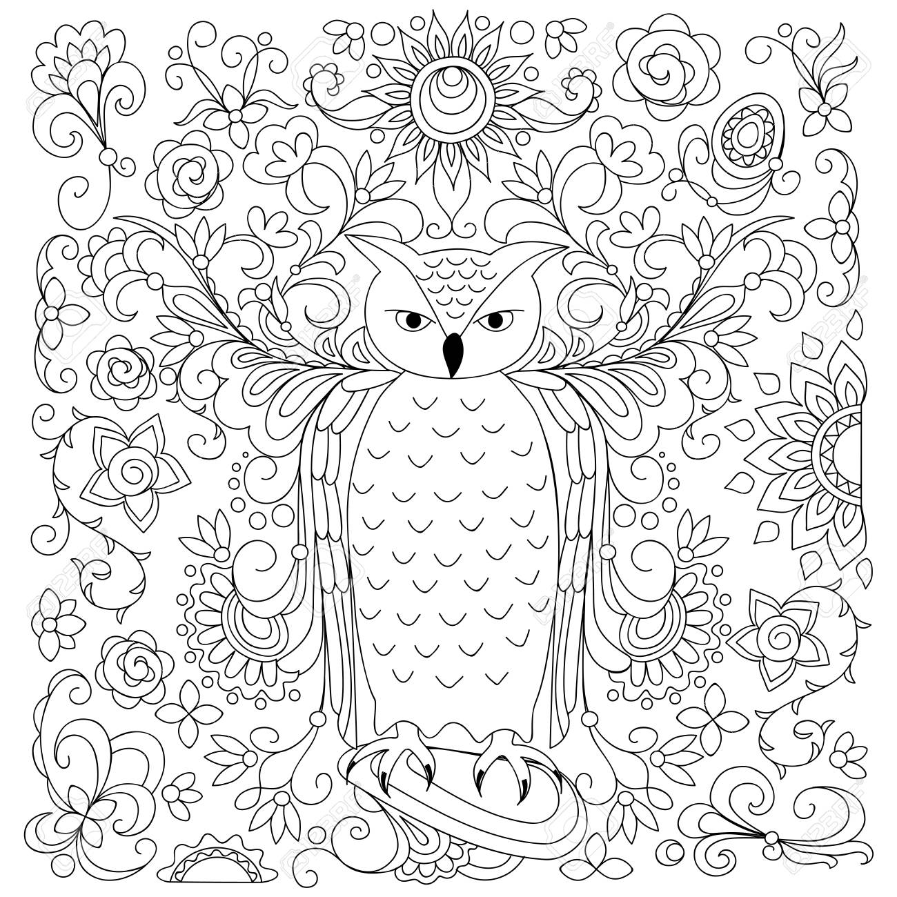 Coloring Page With Hand Drawn Owl Among Floral Pattern For Children And Adult Anti Stress