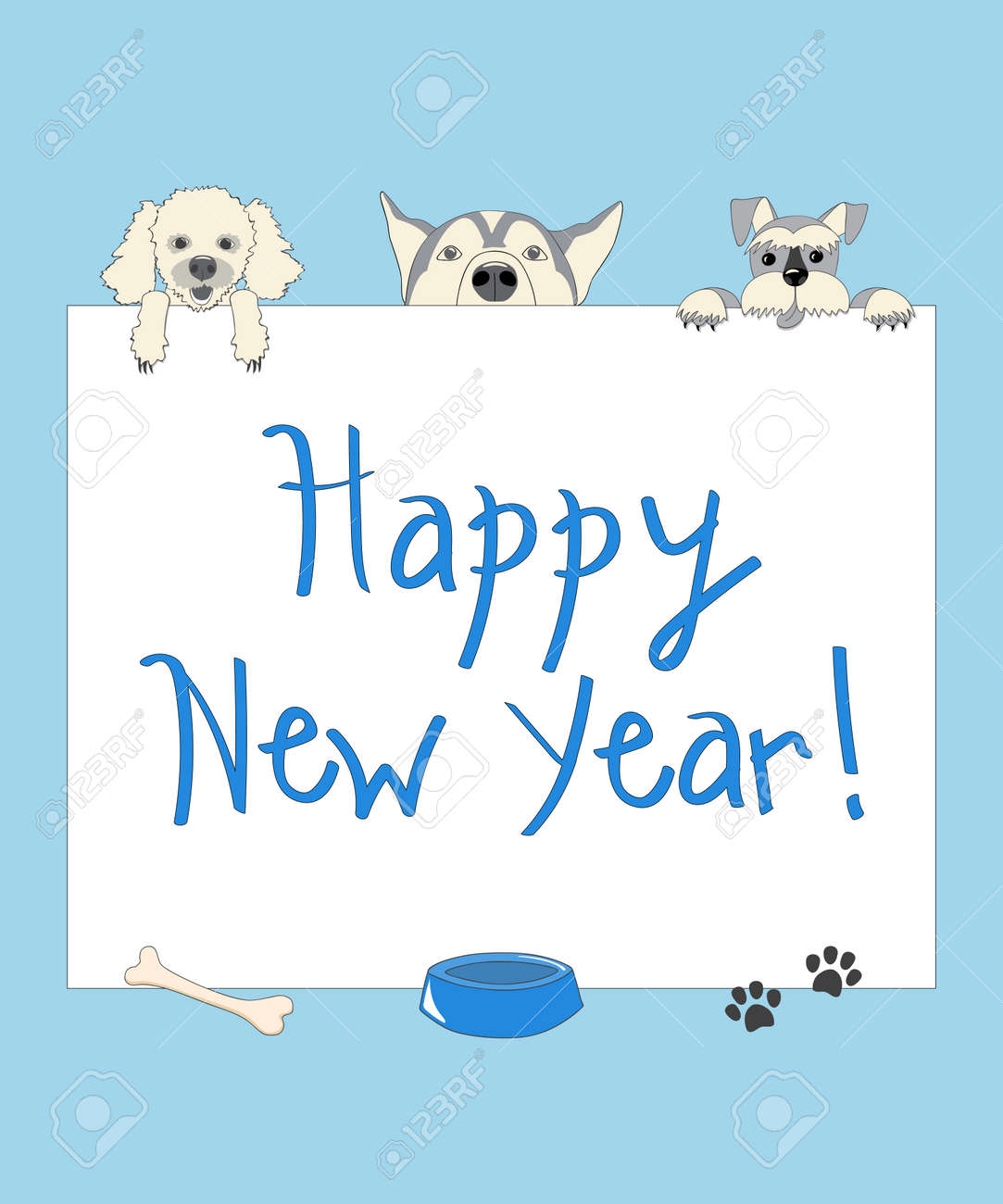 Kids New Year Card With Funny Cartoon Dogs And Text Happy New ...