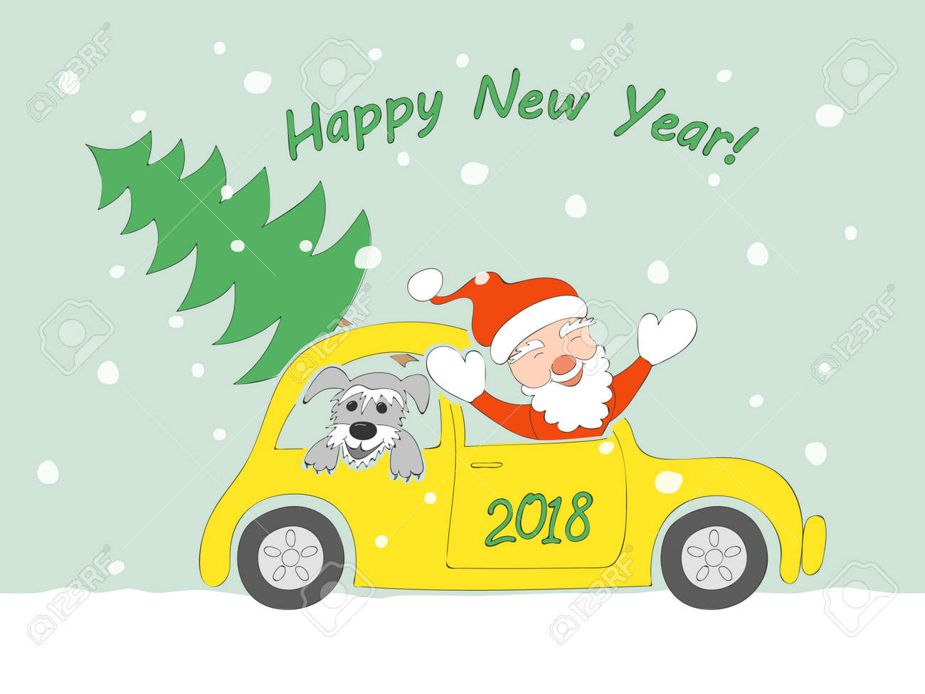 new year card with funny cartoon santa claus happy schnauzer puppy and christmas fir
