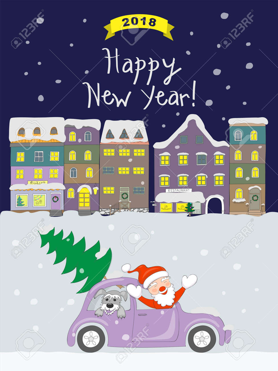 new year 2018 card with cartoon santa claus and dog traveling in the retro auto and