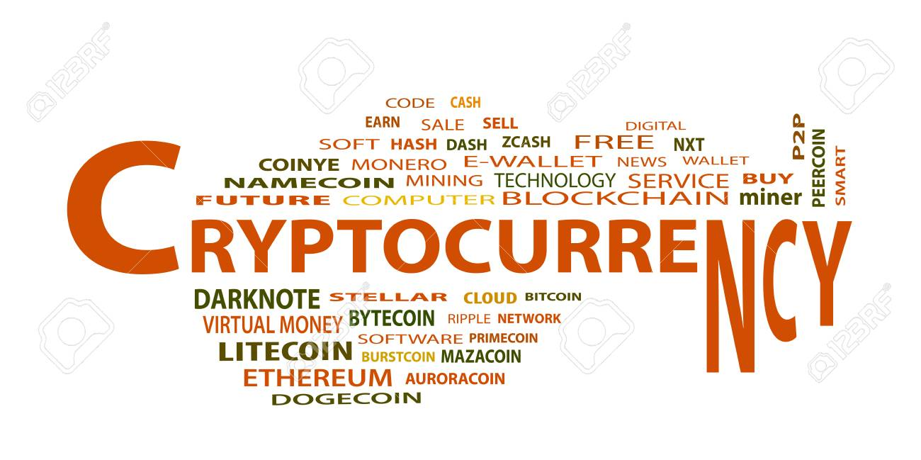 Word cloud related to bitcoin, cryptocurrency, virtual money