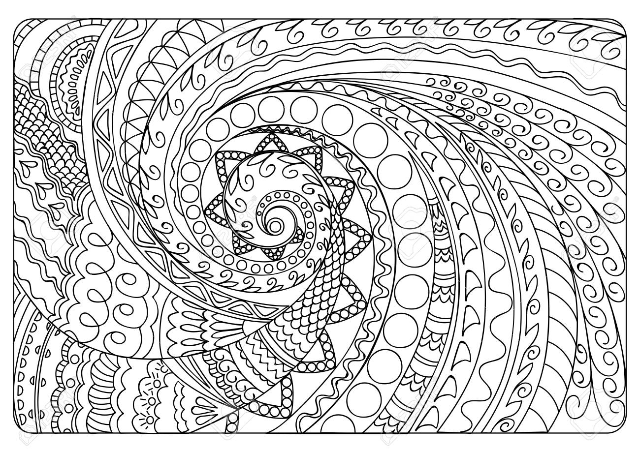 Hand drawn tangled pattern in Arabic, Indian, boho motifs. Image for adult coloring book, decorate plates, porcelain, ceramics, crockery. eps 10 - 114883051