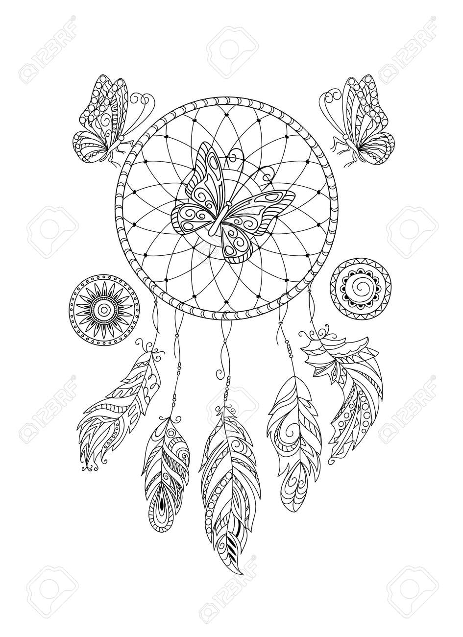Coloring Page With Dreamcatcher Patterned Feathers And Butterflies For Adult Antistress Coloring Book Album Wall Mural Art Tattoo