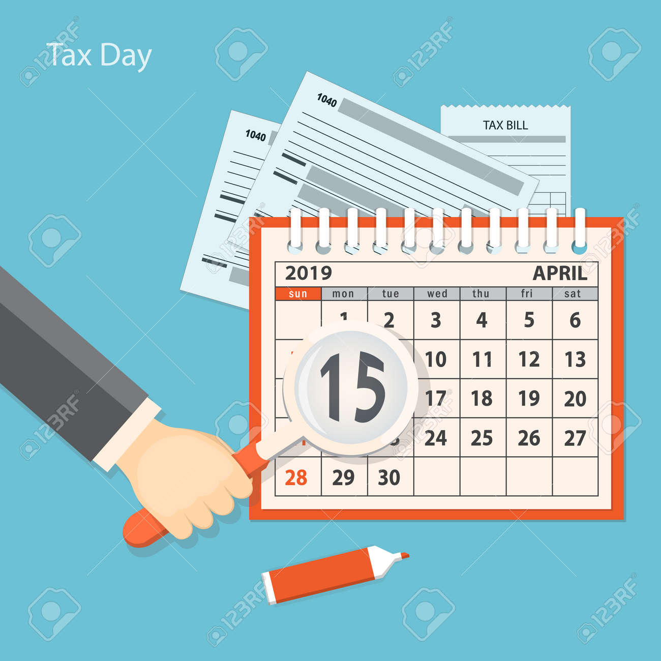 flat modern business concept of tax day payments time tax time with human hand