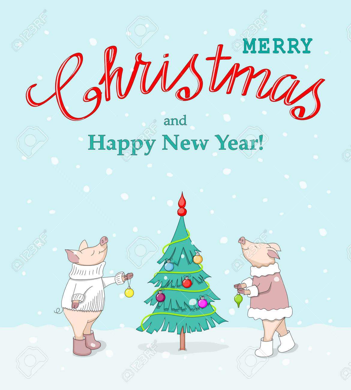 new year card with handwritten text merry christmas decorating fir tree cute cartoon piglets