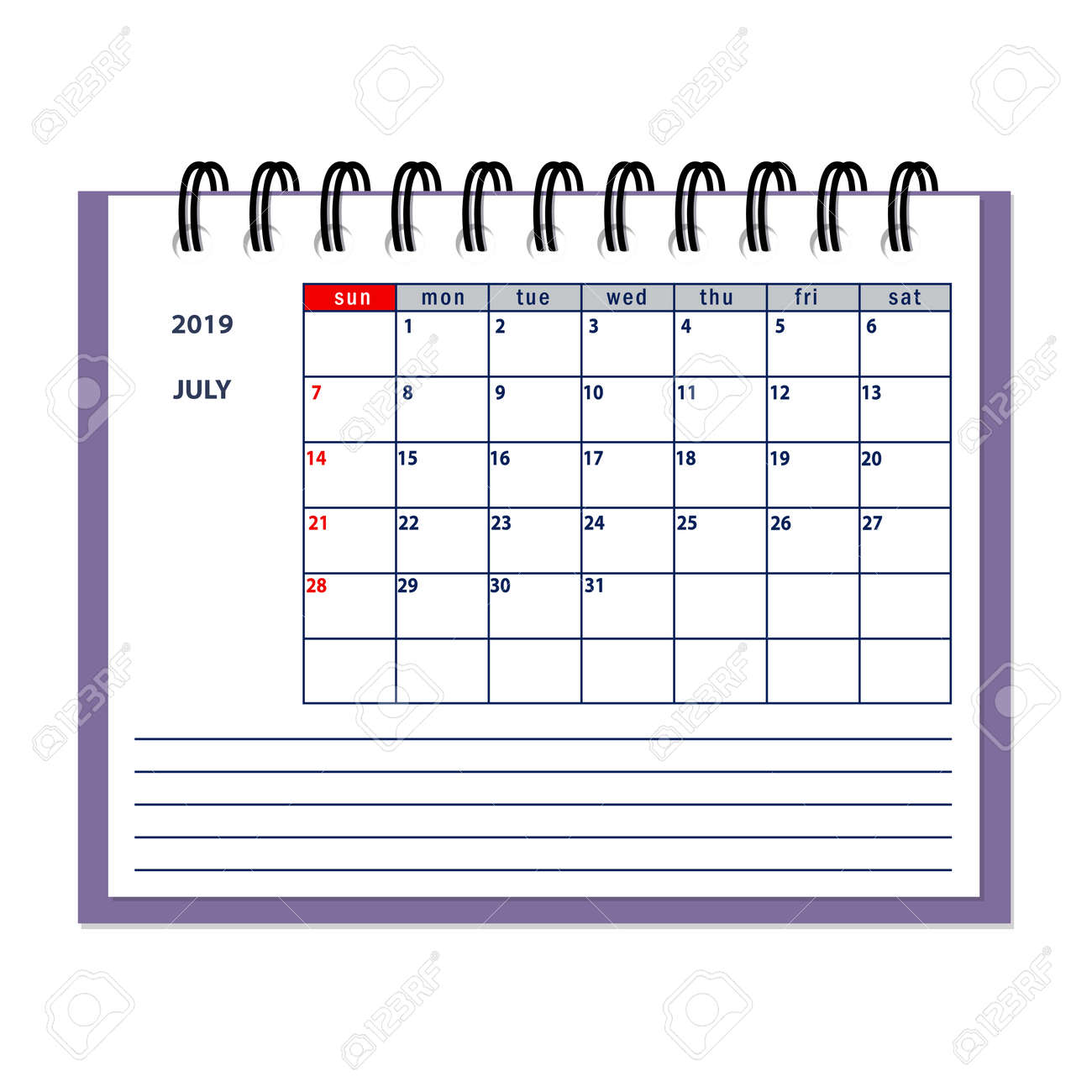 Calendrier Planning 2019.Isolated Page July Year 2019 Of Business Planner Calendar On