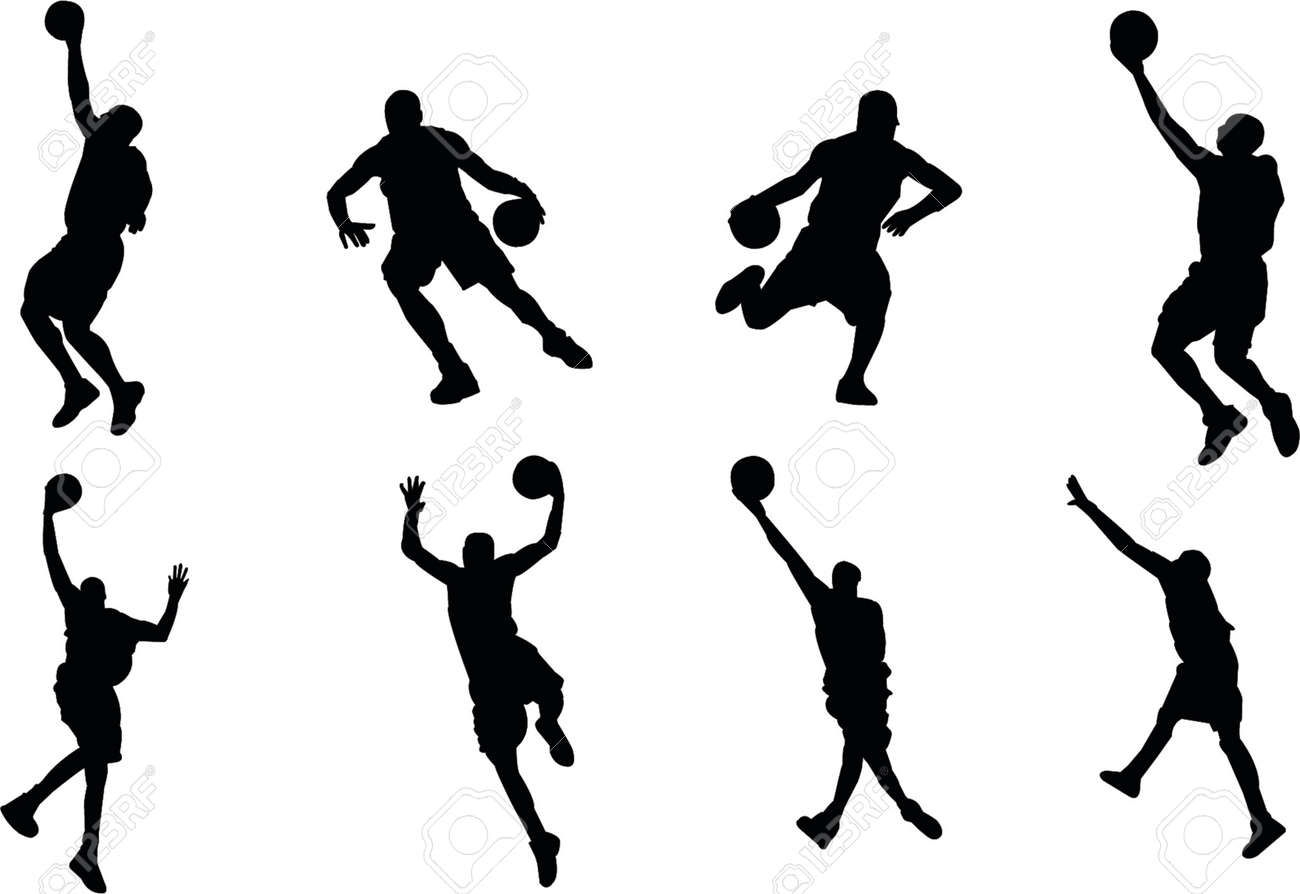 basketball player silhouettes royalty free cliparts vectors and