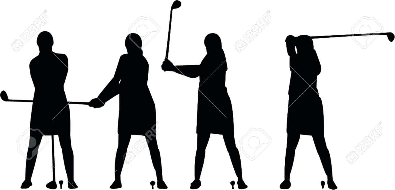 Girl swinging golf silhouette Stock Vector - 466009