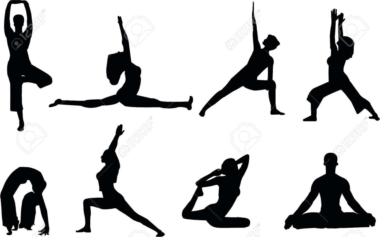 yoga silhouettes Stock Vector - 465985