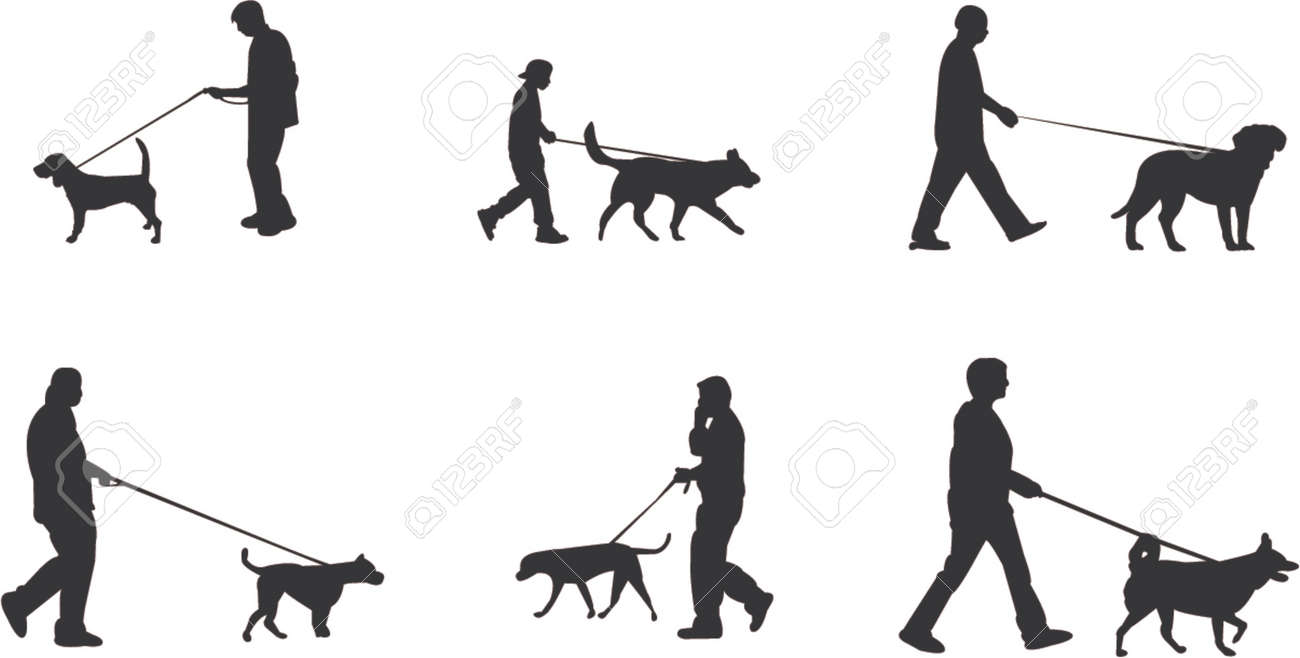 walking the dog silhouettes Stock Vector - 773363