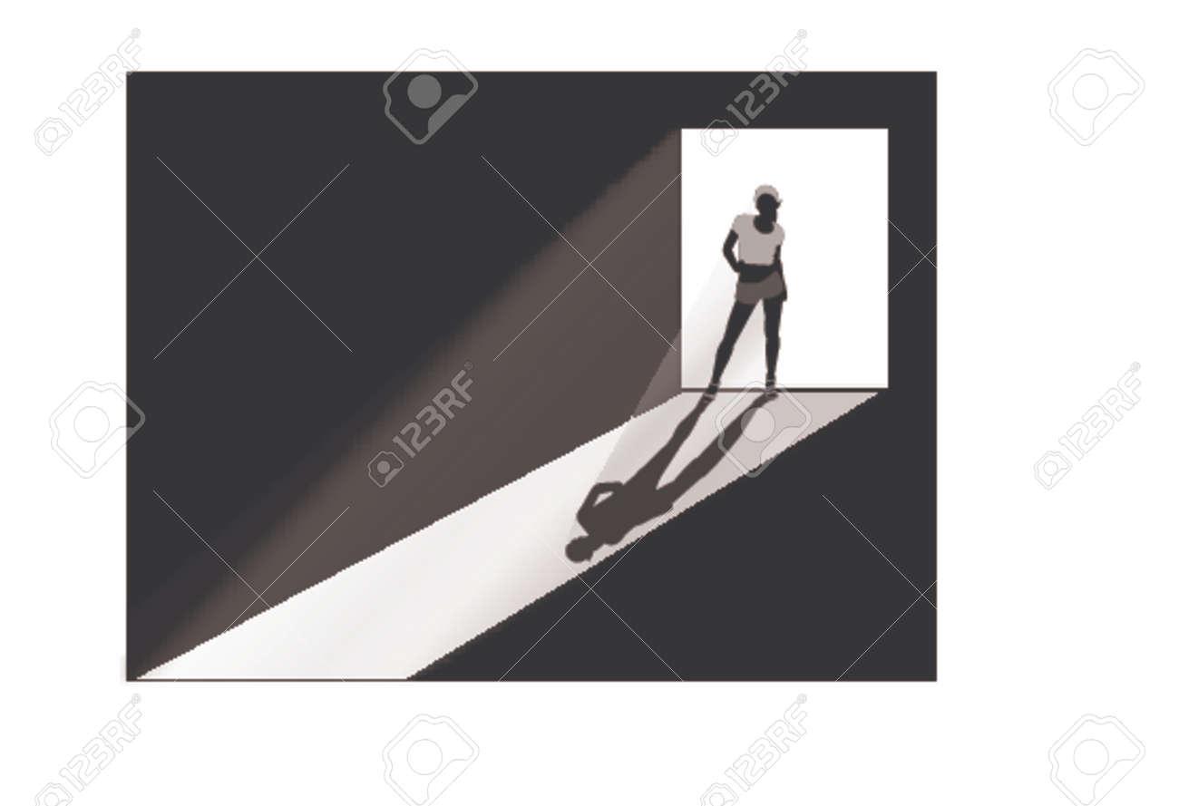 girl silhouette at doorway Stock Vector - 773366
