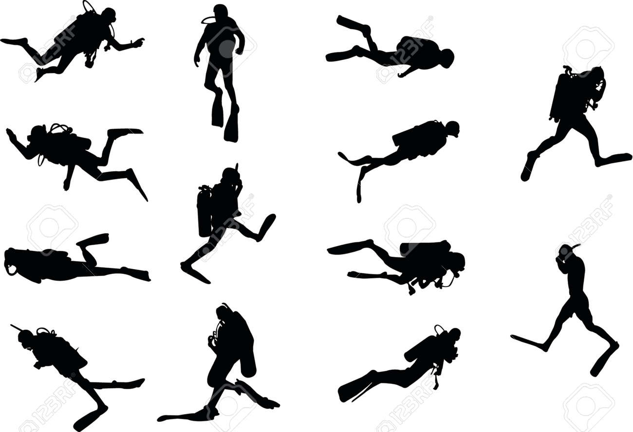 divers silhouettes Stock Vector - 1156215