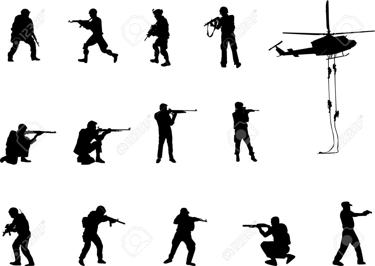 armed men silhouettes Stock Vector - 1934889