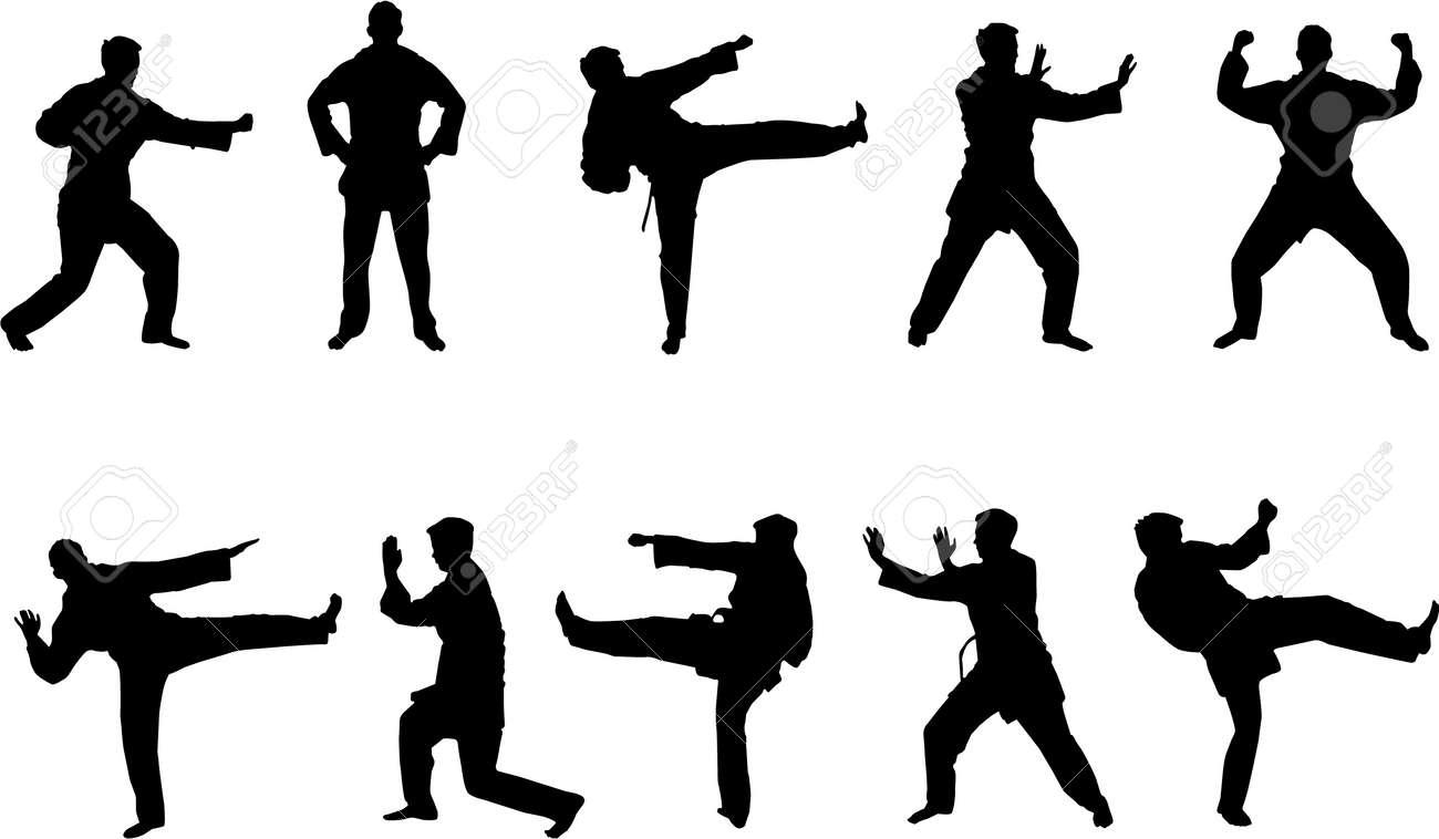 martial arts silhouettes Stock Vector - 2946584