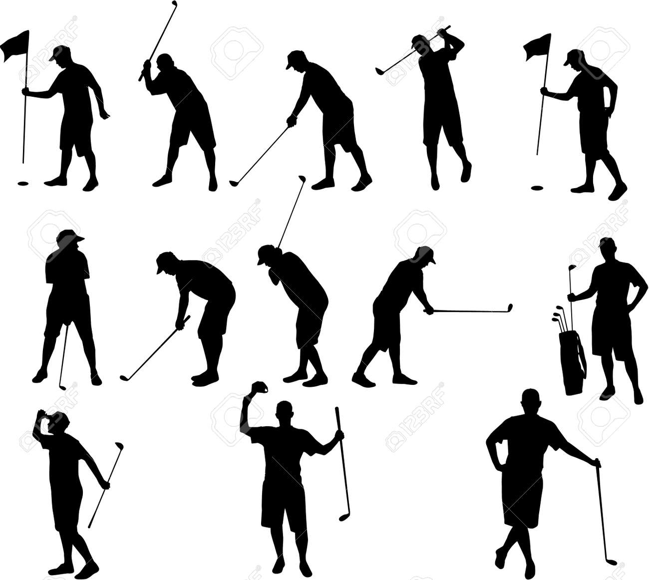 Golf Silhouettes Royalty Free Cliparts Vectors And Stock