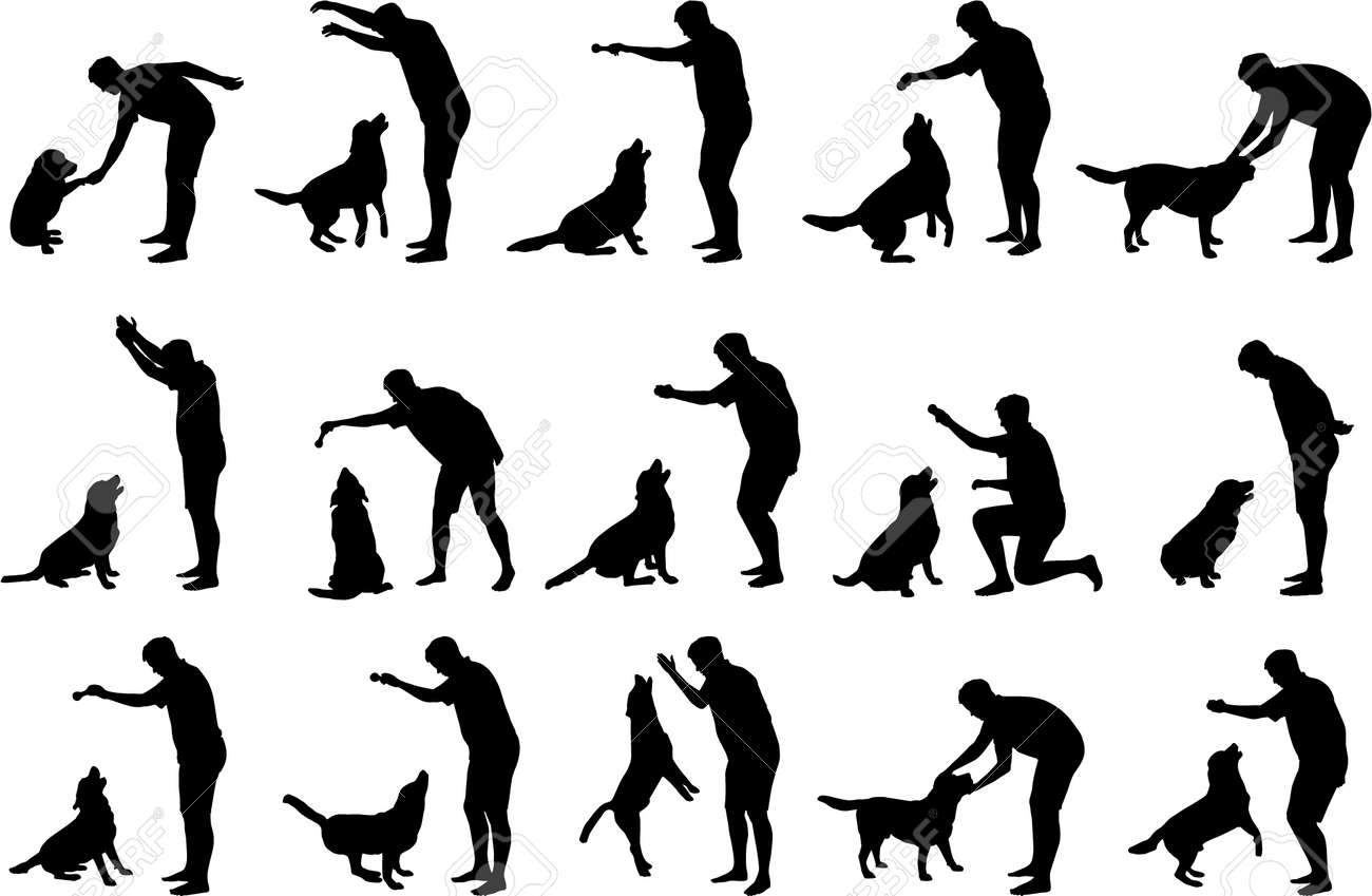 boy with a dog silhouettes royalty free cliparts vectors and stock