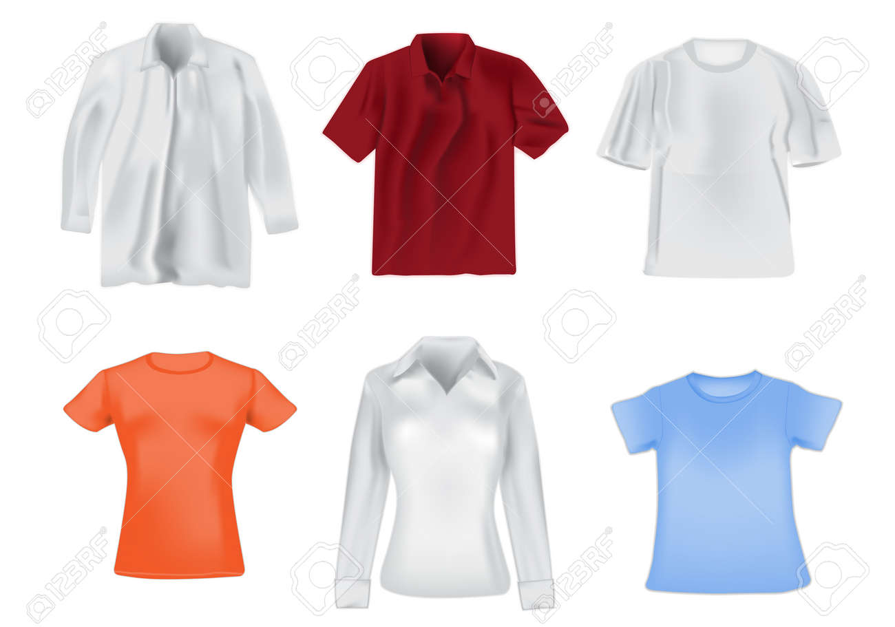 Women and men shirts detail realistic illustration Stock Vector - 15590102