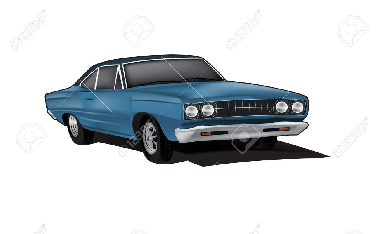 Blue Muscle Car Illustration In Vector Format Royalty Free Cliparts