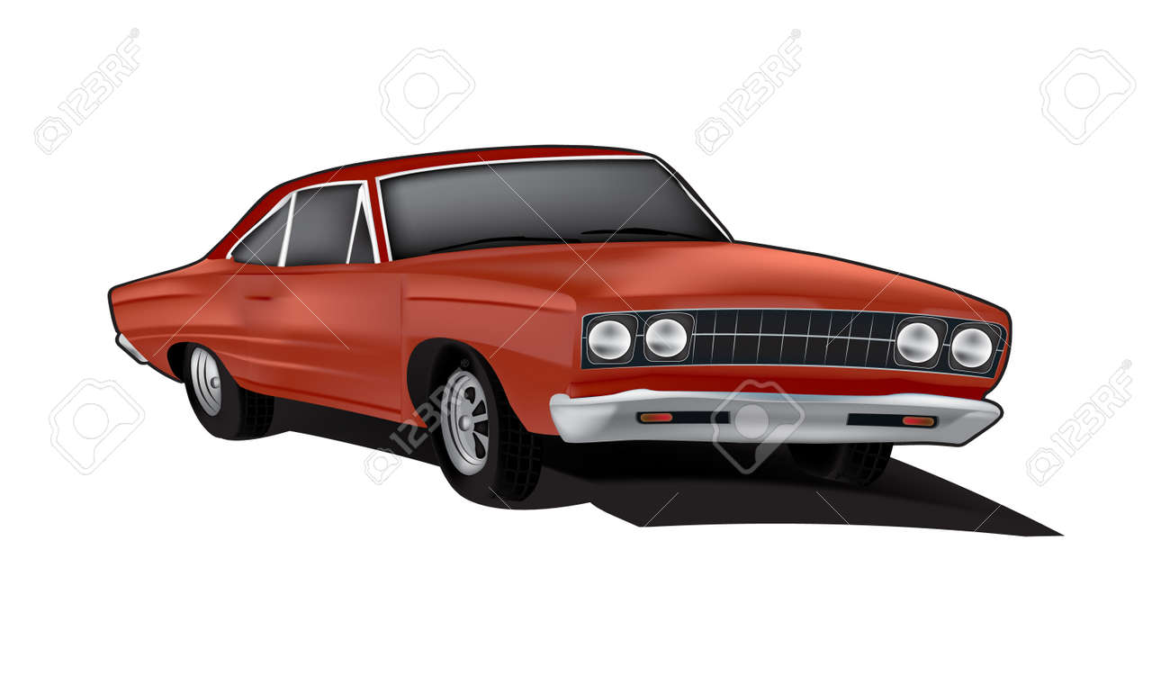 Brown Muscle Car Illustration In Vector Format Royalty Free Cliparts