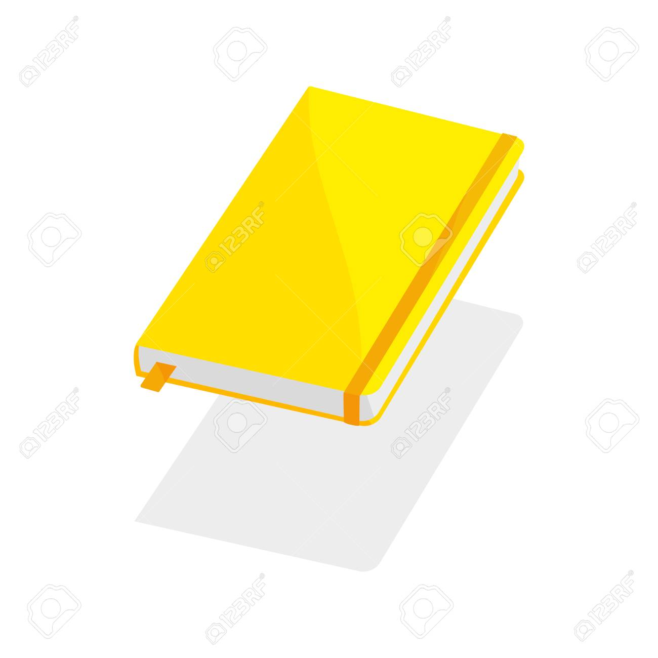 yellow notebook on white background blank paper cover vector