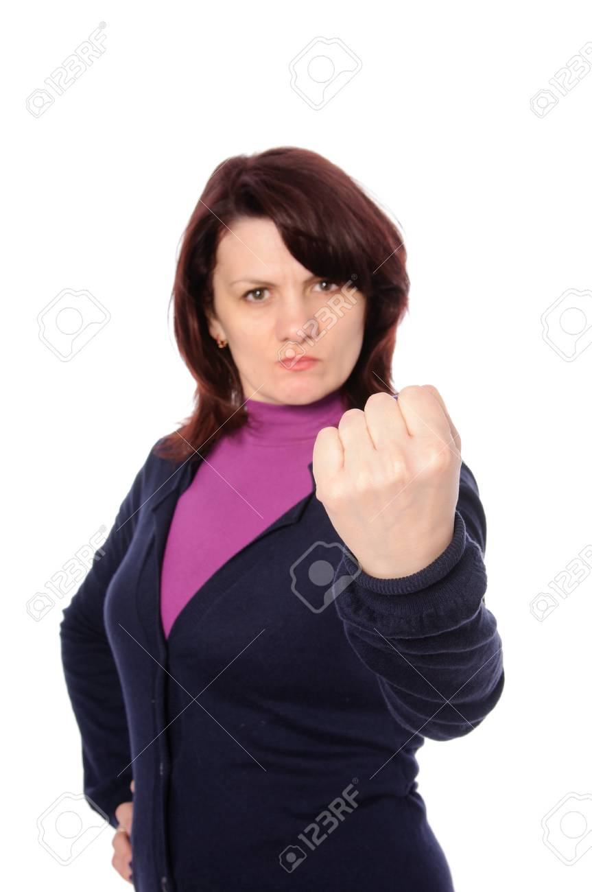 mid adult woman shows the fist  isolated on white background Stock Photo - 13860335