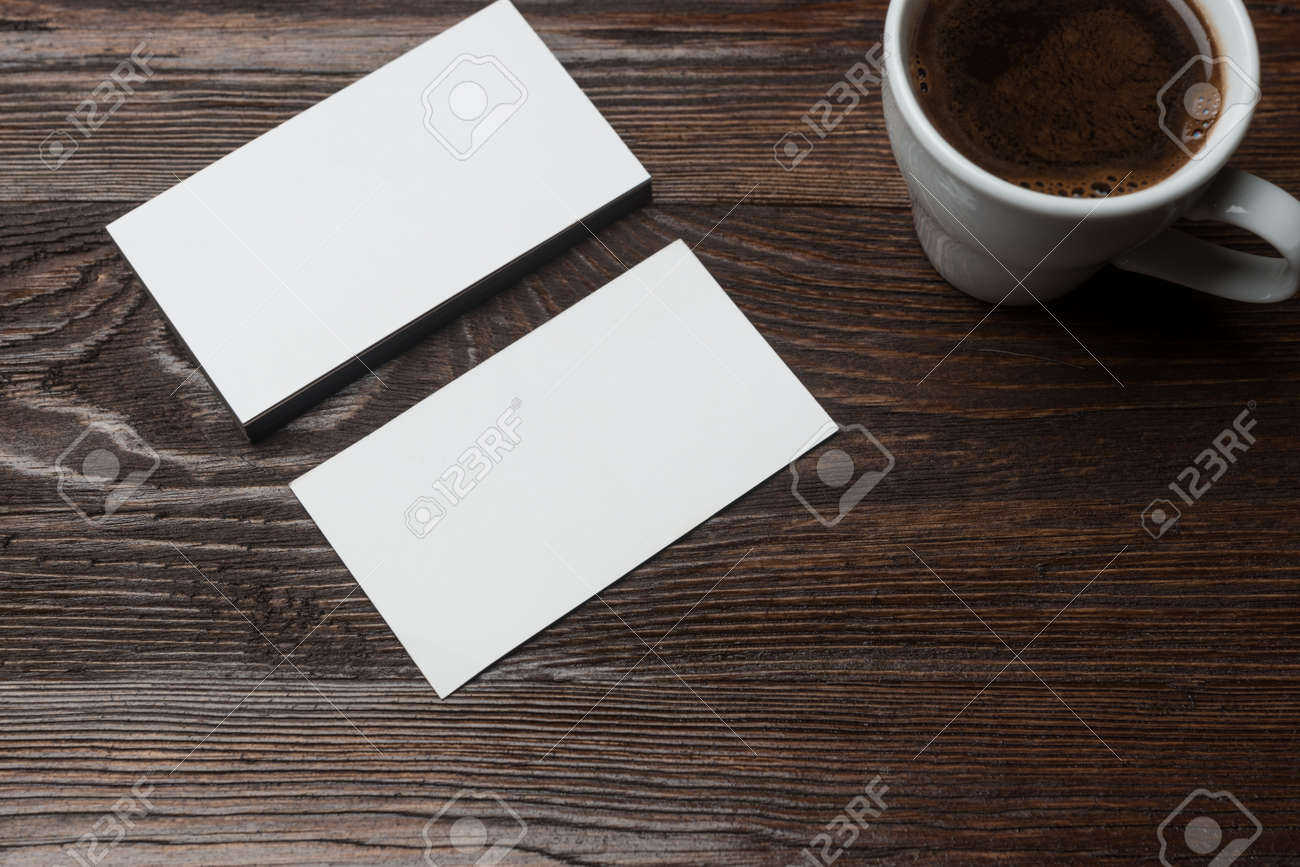 White Empty Business Card Mockup Wood Table Coffee Cup Modern